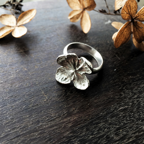 Sterling silver hydrangea ring, sterling silver flower ring