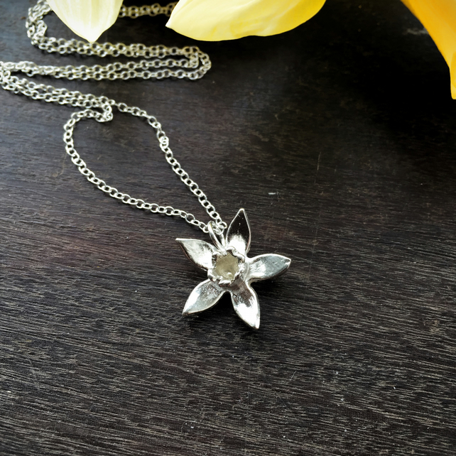 Sterling silver daffodil necklace, spring necklace