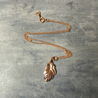 Rose gold oak leaf necklace - rose gold vermeil leaf necklace