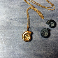 Gold Vermeil ammonite necklace - gold plated fossil pendant