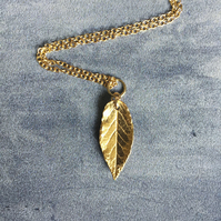 Gold leaf necklace -vermeil autumn leaf necklace