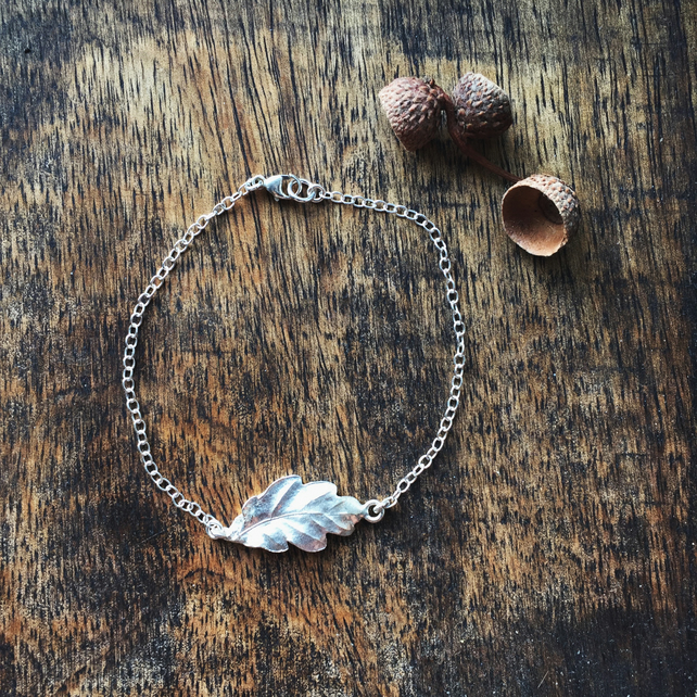 Sterling silver oak leaf bracelet, autumn leaf bracelet