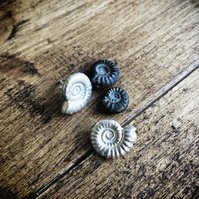 Sterling silver ammonite earrings - silver fossil earrings
