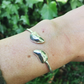 Sterling silver mussel shell bangle bracelet