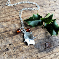 Sterling silver small holly leaf necklace, Christmas gift