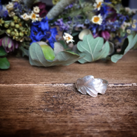 Sterling silver oak leaf ring, autumn leaf ring