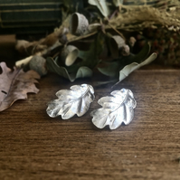 Sterling silver oak leaf earrings, autumn leaf earrings - Christmas gift