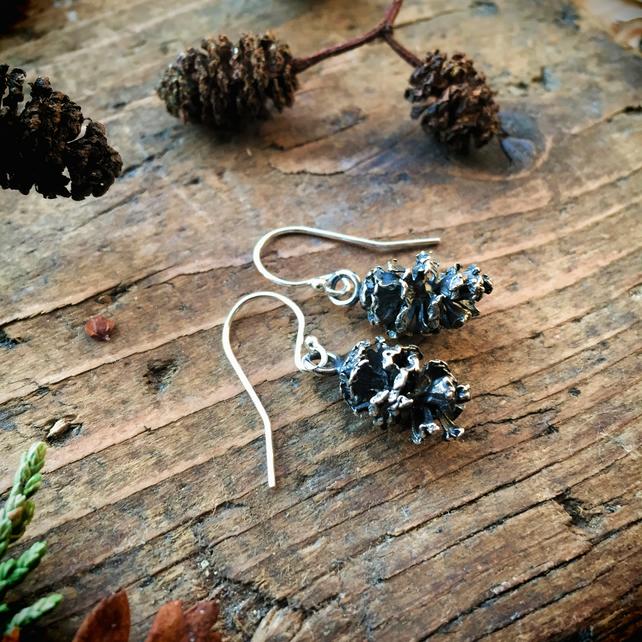 Sterling silver alder cone earrings, autumn jewellery