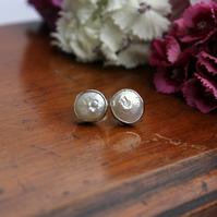 Silver Ivory coin pearl wedding studs