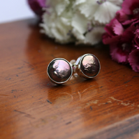 Silver peacock coin pearl wedding studs