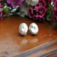 Silver ivory oval coin pearl wedding studs