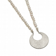 Athena silver long pendant with ivory pearls