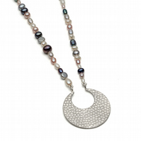 Athena silver long pendant with ivory, grey, pink and peacock pearls