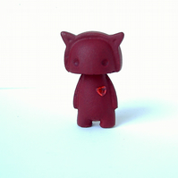 Deep Red Valentines Devil with added hearts. Art Toy, statue Gift