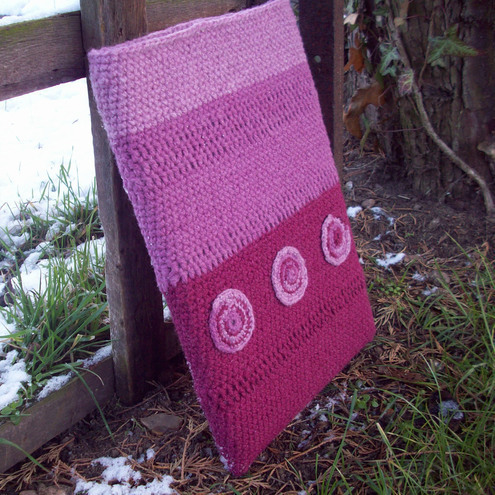 Pink and purple crocheted laptop sleeve