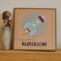 Personalised Space Rocket Birthday Card