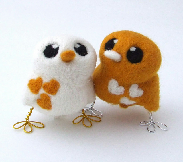 Bird Wedding Cake Topper Golden Yellow and Natural White Needlefelted Birds