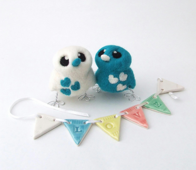 Bird Wedding Cake Topper Bright Teal And White