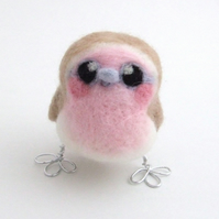 Pink Robin Bird Needle Felted Mini Bird