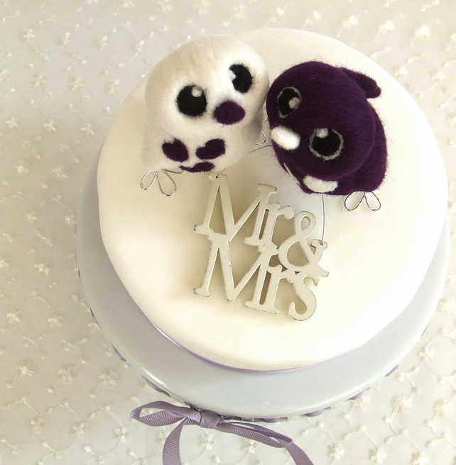 Bird Wedding Cake Topper Purple Passion Royal Purple Opposites Love Birds