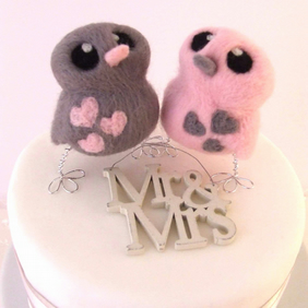 Wedding Cake Topper Pale Pink and Grey Love Birds