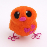 Needle Felted Bird Orange and Bright Pink Love Bird Tweet