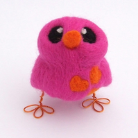 Needle Felted Bird Pink and Bright Orange Love Bird Tweet