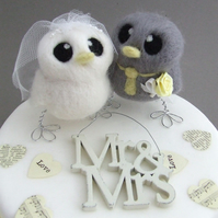 Love Birds Wedding Cake Topper Grey and Yellow Wedding Bride and Groom
