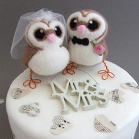 Barn Owl Wedding Cake Toppers Bride and Groom Barn Owl Pair Felt Birds
