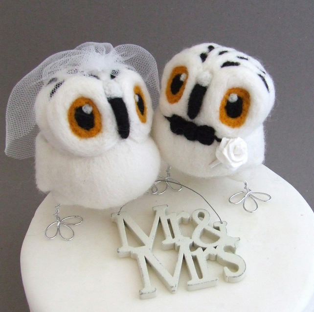 Snowy Owl Wedding Cake Toppers Bride and Groom Snowy Owl Pair