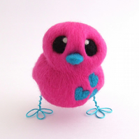 Felt Bird Turquoise and Hot Pink Needle Felted Love Bird
