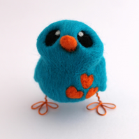 Needle Felted Turquoise and Orange Love Bird