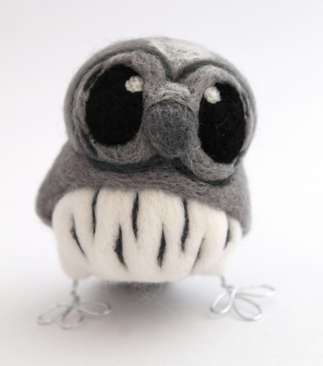 Needlefelted Grey Owl Ornament