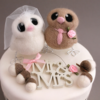 Love Birds Wedding Cake Topper Beige and Pink Wedding Bride and Groom