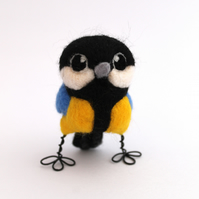 Mini Great Tit Needle Felted Bird British Wild Bird