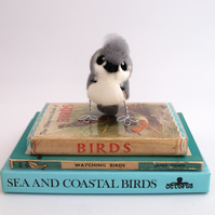 Mini Tufted Titmouse Needle Felted Bird in Soft Grey and White