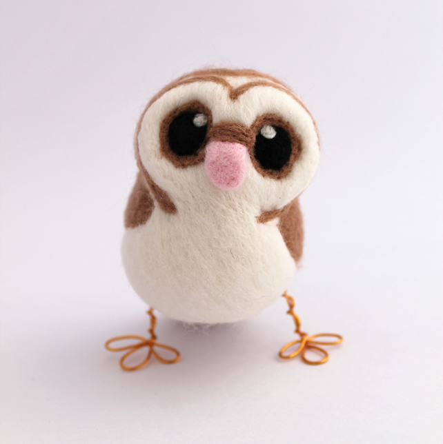 Needle Felted Barn Owl in soft Browns