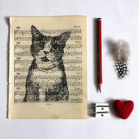 Inky Cat Print on Vintage Sheet Music, Cat Print, Gocco Print