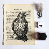 Raven Print on Vintage Sheet Music, Bird Print