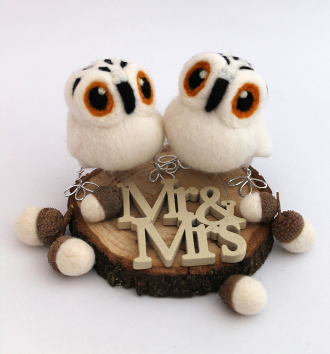Mini Snowy Owl Wedding Cake Topper White Felt Birds