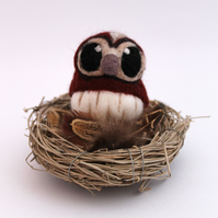 Needle Felted Tawny Owl Felt Mini Bird in Chestnut Brown