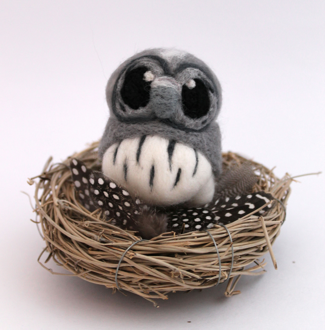 Needle Felted Miniature Grey Owl