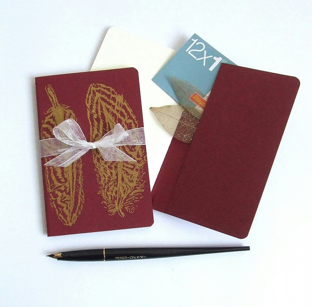 Golden Feathers Notebook Moleskine Journal in Red