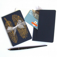 Golden Feathers Notebook Moleskine Journal in Blue