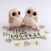 Mini Owl Wedding Cake Topper Barn Owl Pair in soft Browns With Heart shaped Face