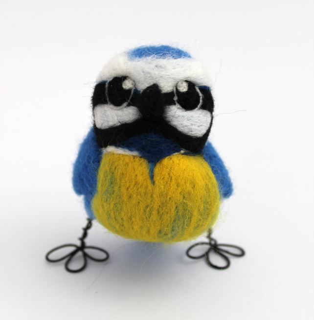 Needle Felted Blue Tit Ornament Standing Bird Decoration