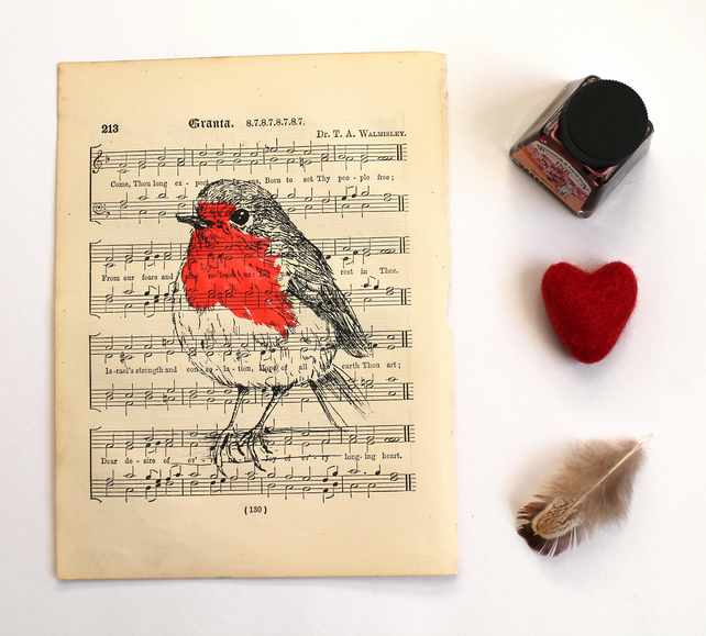 Robin Print on Vintage Sheet Music, Gocco Print