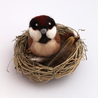 Needle Felted Sparrow Ornament
