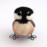 Needle Felted Bird Black Capped Chickadee