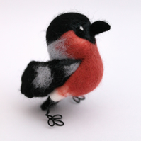 Needle Felted Bullfinch, Bird Ornament